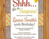 Fall Birthday Party Invitation Burlap Leaves Colorful Plaid Autumn Invite Adult Celebration 50th Any Age DIY Printable 5x7 Digital JPG (514)