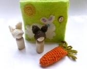 Felted bunny book woodland play set Waldorf inspired Quiet book