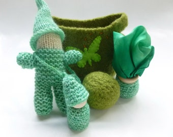 Happy Green Gnome play set Waldorf inspired felted wool bag