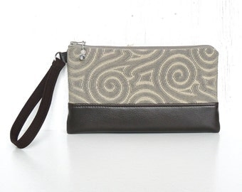 Wristlet Clutch, Zipper Wrist Pouch, Fabric Wristlet Wallet - Zen Garden in Beige, Stone and Espresso