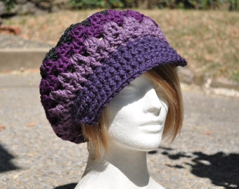 Retro Granny Square Crochet Hat with Brim- Slouch Hat - Purple and Grey Women's Hat - Newsboy Hat - Boho Hat - Purple Hat