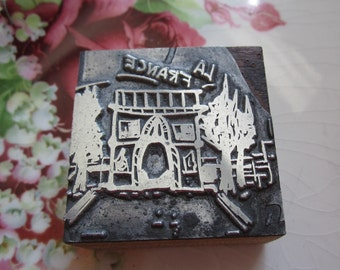 La France Arc de Triomphe Vintage Letterpress Printers Block Paris