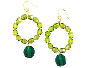 Green Earrings, Green Statement Earrings, Green Earrings, Ombre Earrings, Green Drop Earrings, Green Ombre Jewelry, Green Dangle Earrings
