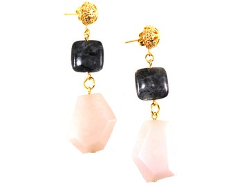 Pink Earrings, Black Earrings, Gemstone Earrings, Statement Earrings, Statement Jewelry, Colorful Statement Jewelry, Office Jewlery