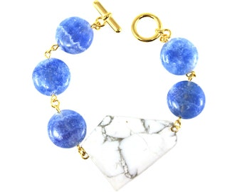 Statement Bracelet, Gemstone Bracelet, Blue Bracelet, White Bracelet, Geometric Jewelry, Statement Jewelry, Colorful Statement Jewelry