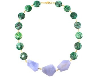 Green Statement Necklace, Gemstone Necklace, Green Necklace, Blue Necklace, Geometric Jewelry, Statement Jewelry, Colorful Statement Jewelry