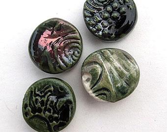 Handmade Raku Fired Beads Set of 4
