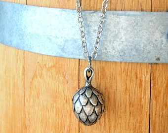 Artichoke Necklace - Silver Artichoke Pendant - vintage artichoke pendant - garden inspired