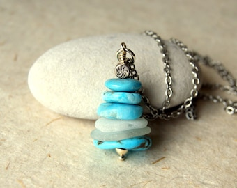 Turquoise and Sea Glass Cairn Necklace - Mexican turquoise and white beach glass - Cairn Necklace - Cairn Jewelry - zen - bohemian jewelry