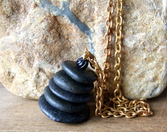 Black Cairn Necklace - Cairn Necklace -Zen - spiritual - black beach stone necklace -  Beach Pebble Necklace - Cairn Jewelry - boho