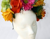 Rose Daisy Flower Crown Frida Kahlo Day of the Dead Floral Spring Concert Floral Headband Mexican Wedding Headpiece