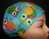 Euro Hat Close Fit Colorful Owls on Blue Medical Surgical Scrub Hat Vet Nurse Chemo