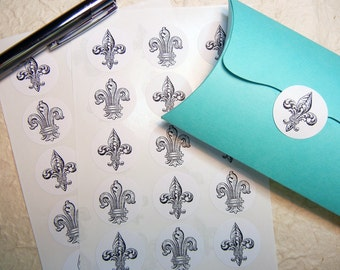 "Fleur de lis Stickers 1"" One Inch Round - B&W, Sheet of 15, 2 Designs - by Blossom Arts"