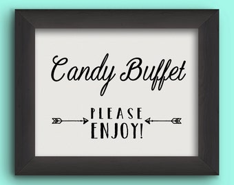 CANDY BUFFET Wedding Reception Sign - Arrows - Instant Graphic Digital Download - You Print - 2 sizes, 4 files included