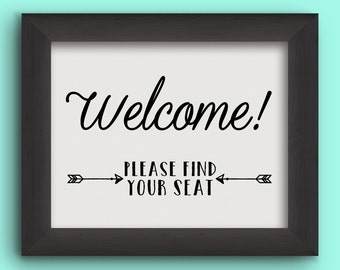 WELCOME Seating Table Wedding Reception Sign - Arrows - Instant Graphic Digital Download - You Print - 2 sizes, 4 files included