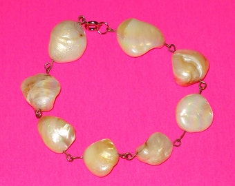 OOAK Polished Shell and Silver Wire Wrapped Bracelet