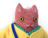 Kitty boy Orange Herringbone wool doll plush