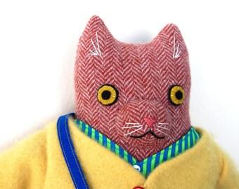 Kitty boy Orange Herringbone wool doll plush