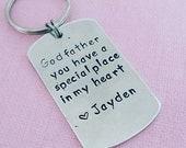 Godfather Baptism Gift Godmather  Godparent Baptism Gift First Communion Personalized Key Chain Dog Tag