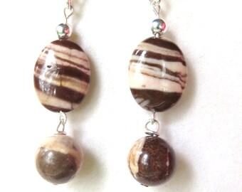 Long Oval Gemstone Earrings - Zebra Jasper and Sterling Silver - Wire Wrapped Earrings - Boho Style Earrings