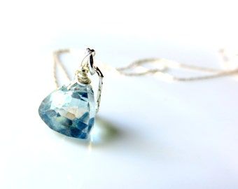 Dainty Mystic Blue Topaz Trillion Necklace - Solitaire Gemstone Pendant on Sterling Silver Chain - Silver and Blue Gemstone Necklace