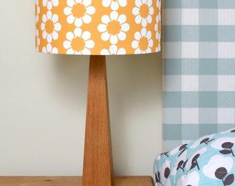 Retro Yellow Flowers Oak Table Lamp