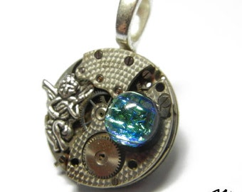 Steampunk GUARDIAN ANGLE Vintage Old Watch Dichroic Glass Altered Mixed Media Slide Pendant with Necklace