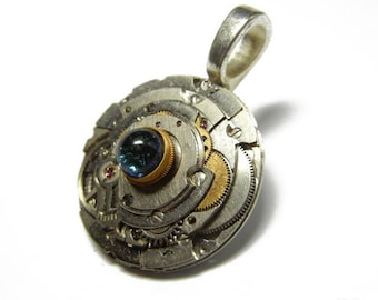 STEAMPUNK - IRONMAN INSPIRED Fused Dichroic Glass Altered Art Pendant with Necklace