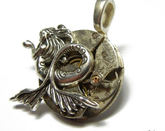 Steampunk MERMAID Vintage Old Watch Altered Mixed Media Slide Pendant with Necklace