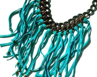 Leather Fringe Necklace Turquoise - Leather Statement Necklace - Leather Bib Necklace - Fringe Jewelry - Bohemian Jewelry
