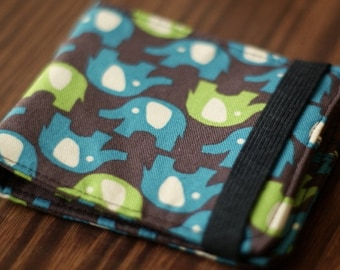 Fabric Wallet | Vegan Wallet | Fabric Billfold | Elephant Fabric Wallet | Brown Wallet