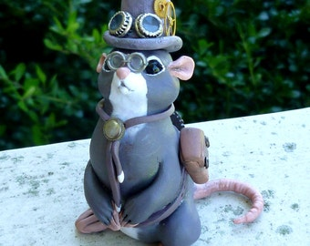 Johnny Ringtail - Steampunk Mouse Myxie Pal Sculpture