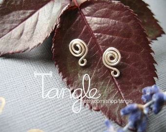 Sterling Silver Tiny Scroll Studs