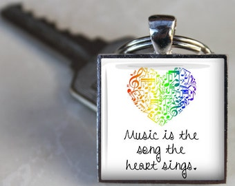 Music is the Song the Heart Sings -  Round or Square Glass Tile Pendant Necklace or Keychain