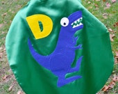 Childrens Capes Custom Dinosaurs Trex superhero Kid Cape w/ intial