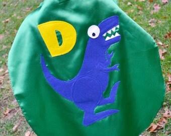 Childrens Capes Custom Dinosaurs Trex superhero Kid Cape w/ intial