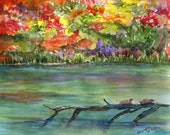 Fall Landscape Watercolour, Pond, turtles on log, Original Watercolor Painting 8 x 10 Autumn decor, Changing Leaves
