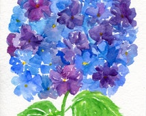 Purple, Blue Hydrangeas watercolor painting original, 5 x 7, flower painting watercolor art, small watercolor flower art, hydrangea decor