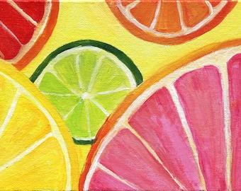 Acrylic Painting Citrus Colors Painting Original 5 X 7 Ruby Red Grapefruit Lemon Orange