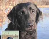 Custom Pet Portrait, Realistic pet art, hand painted, digital painting, on paper, pit bull portrait, Black Labrador artwork, lifelike detail