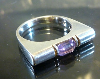 Designer Amethyst Bar Ring Sterling Silver size 5 1/2 band faceted purple machine age steampunk wide
