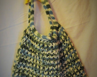 Amazing Stretchy Knitted Carry All - Green, Blue, and Cream