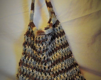 Amazing Stretchy Knitted Carry All - Blue Brown Cream