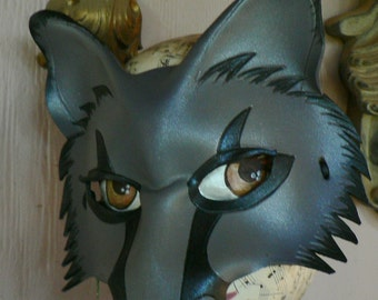 Grey fox or wolf leather mask by Faerywhere