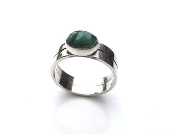 Sterling Silver and Emerald Ring Size 8 OOAK