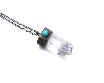 Rustic Crystal and Turquoise Pendant - OOAK