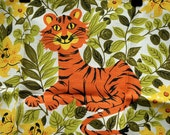 Vintage Tiger Tea Towel - 60s Retro Linen Dishcloths Floral Day Lilies Towel Home and Living Kitchen Dining Linens Barware