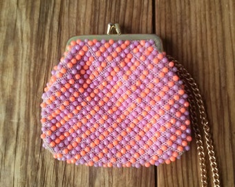Vintage 1960s Change Purse Candy Dot Bag Dotted Swiss Orchid Orange 2015414