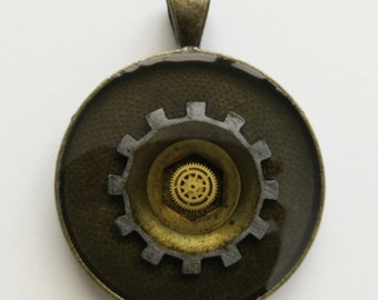 The Eye of Horace - Cast Resin and Clockwork Pendant