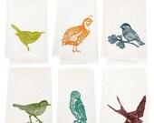 six pack of organic block print bird towels